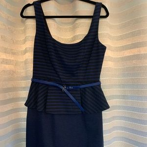 Black and Blue Belted Dress